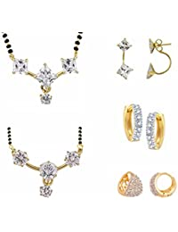 Archi Collection Jewellery Gold & Rhodium Plated Mangalsutra Pendant With Chain & Mangalsutra Bracelet & Earrings...