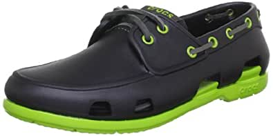 Crocs Men's Beach Line Boat Shoe Onyx and Volt Green Rubber Boat Shoes - M8