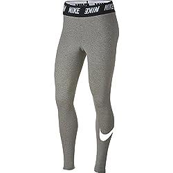 Nike Sportsware Club HW Mallas, Mujer, Gris/Blanco (Dark Grey Heather/White), XL