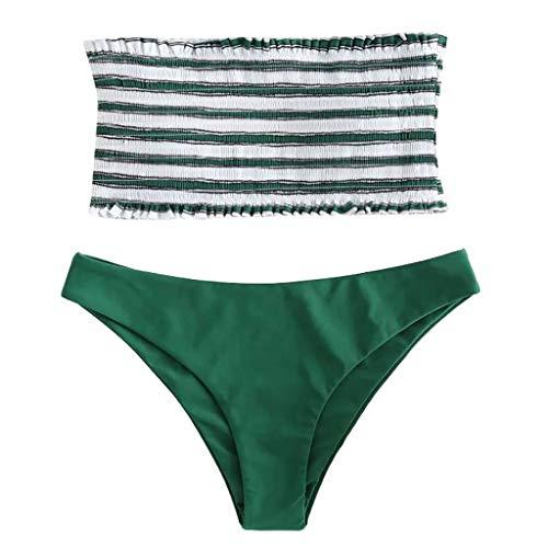 QingJiu 2 StÜCk Frauen Bademode Bikini Anzug Streifen Push-Up Gepolsterte Bade Beachwear(Grün,Small)