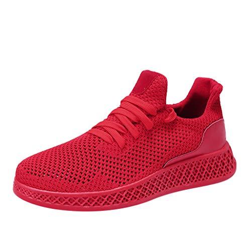 CUTUDE Laufschuhe Herren Fitness Sportschuhe Damen Mode straßenlaufschuhe Turnschuhe Atmungsaktiv Sneakers (Rot, 41 EU) (Fahr-hüte Für Männer)