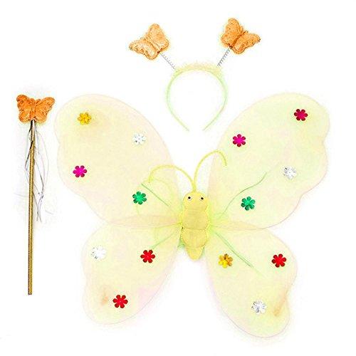 Xshuai 3pcs / Set Mädchen geführtes blinkendes helles weiches Tullegewebe Feenhaftes Schmetterlings-Flügelstab-Stirnband-Kostüm-Geschenk-Spielzeug (Blau / Rosenrot / Lila / Rosa / Gelb) (Kostüme Schmetterling Gelber)