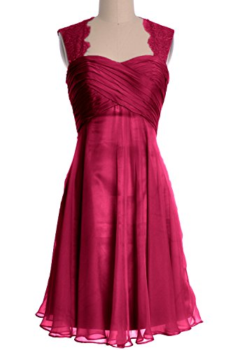 MACloth Women Lace Straps Chiffon Short Bridesmaid Dress Cocktail Formal Gown Weinrot