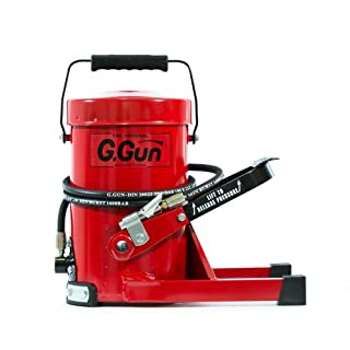 G.GUN Grease Gun - Frustration-Free G Gun Greaser -- Quick and Easy Greasing - 10,000psi Output, Hands-Free, Foot Operation and Pressure Relief Valve for Mess-Free, Waste-Free Greasing - NPT G.COUPLER Lock-On, Stay-On, Clip-Off Grease Coupler and 2 Metre (6.5 Foot) Flex Hydraulic Hose - Durable Industrial Strength Heavy Duty Construction (By GURTECH)