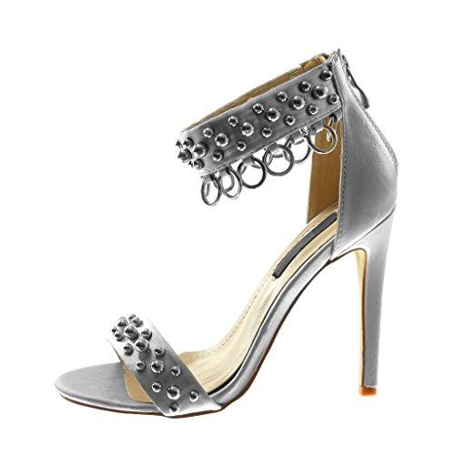 Angkorly Shoes Sandalias De Moda Zapatos Decollete Con Correa De Tobillo Tacón De Aguja Mujer Tachonada De Perla Con Anillo Tacón De Aguja 11.5 Cm Plata