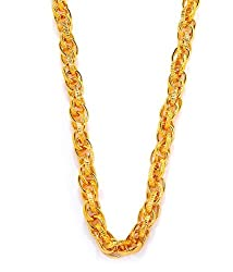 Goldnera 30 Inches Long Interlocked Gold Non-Precious Metal Chain Necklace For Men