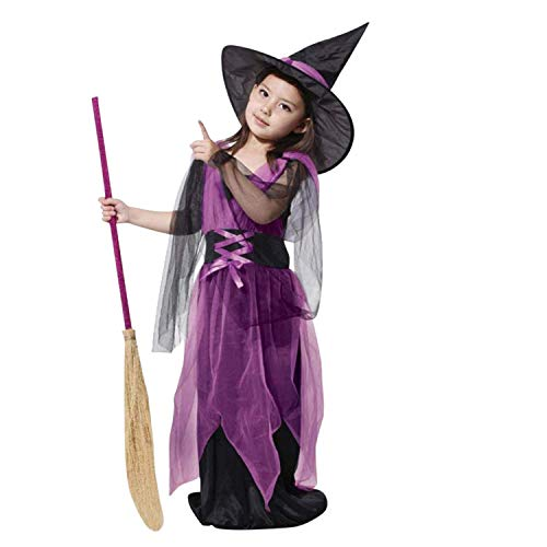 Bobopai Kids Toddler Girls Halloween Costume Dress Fancy Dress up Cosplay Outfits with Witch Hat - Hat Check Girl Kostüm