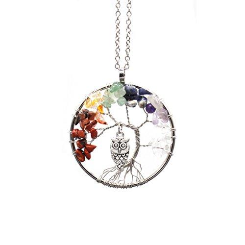 AIUIN 1Pcs Collar de Mujer Colgante del Búho y Árbol de la Vida Plateado Collars de Piedra del Arco Iris Joyería y Decoración (con un Bolso de joyería)