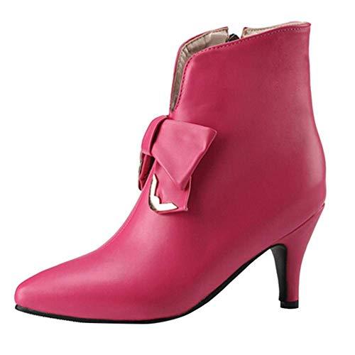 HhGold Tobillo Botas de Invierno Mujer Chukka Martin Plantillas Zapatos PU tacón de Aguja Alta Goth...