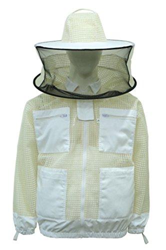 Professionelle Bee 3Layer safetyunisex weiß Stoff Mesh Bienenzucht Jacke Bienenzucht Schleier Bee Schutzkleidung Bienenzucht Kleidung Bienenzucht Schutzkleidung belüftet Bee (Kostüme Einfache Kommerzielle)