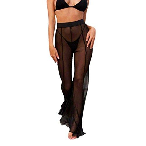 Gottex 2 Stück Tankini (Holeider Lange Hose Damen Hose Strand Mesh Sheer Bikini Vertuschen Bademode Transparent Sommer (XL, Schwarz))
