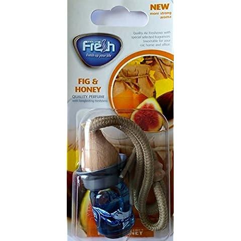Pack 2x Deodoranti per auto, bottiglia di cristallo, tappo di legno, aroma a Fico e Miele