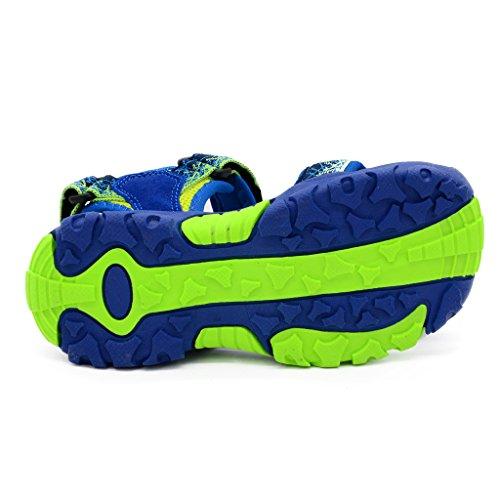 Bwiv sandales garçon à scratch avec semelles intérieures fourrées de peau sandales d'été durables des tailles 24,5-38 EU Bleu et vert