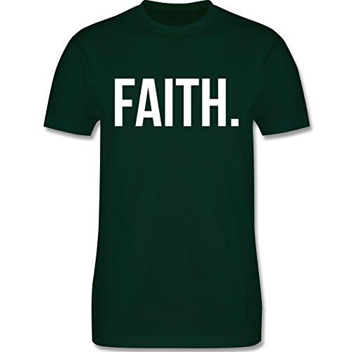 Statement Glaube Religion - Faith Glaube weiss - Herren T-Shirt Dunkelgrün