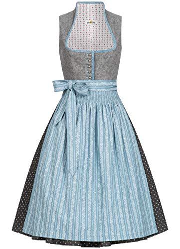 Almsach Damen Trachten-Mode Midi Dirndl Dora traditionell Gr.32-54, Größe:54, Farbe:Grau/Eisblau -
