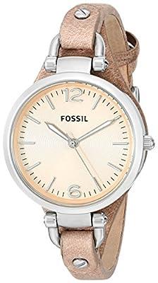 Fossil ES2830 de cuarzo para mujer con correa de piel, color beige