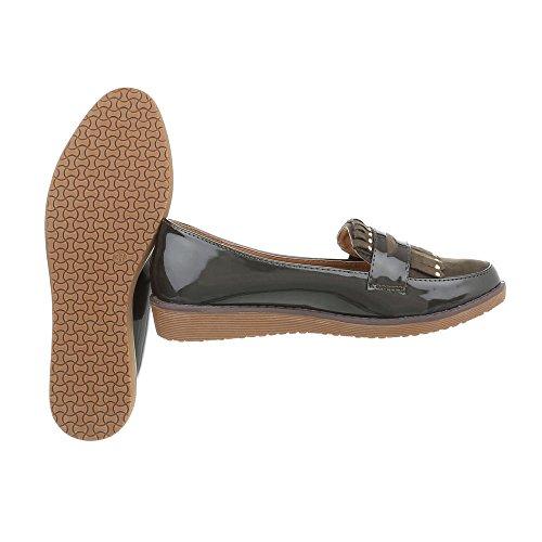 Piatto kaki Donna Mocassini da Ital 2 Design W Slipper Scarpe XqC0w
