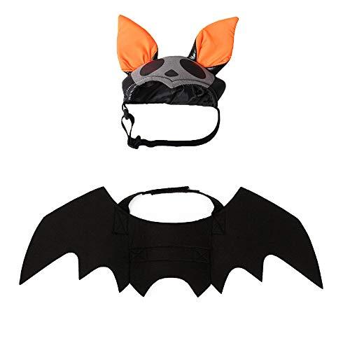 Flügel Eule Machen Kostüm - JWShang Halloween-Katzen-Deko-Set, Fledermaus-Hut und Fledermausflügel, Haustierkostüme, Party-Dekoration für Welpen, Katzen