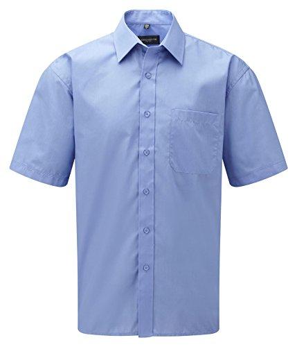 Russell Collection Men's Easy Care Poplin Short Sleeve Shirt Bleu
