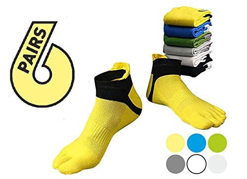 EdLand Fünf Finger Zehen Socken 6Pack, für Sport, Running, Athletic, Walking, Yoga, Damen Jungen Unisex Herren, 6 Color (Usa-fußball-jersey-kinder)