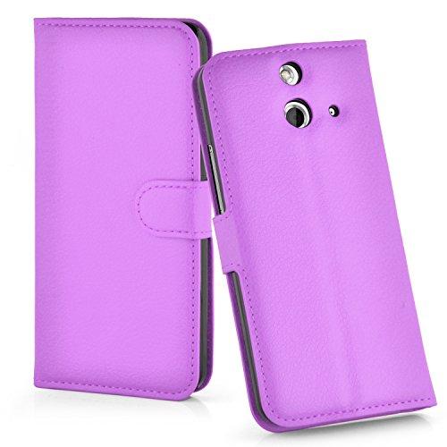 Cadorabo Hülle für HTC One E8 Hülle in Mangan Violett Handyhülle mit Kartenfach und Standfunktion Case Cover Schutzhülle Etui Tasche Book Klapp Style Mangan-Violett