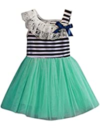 Para 0–4años de edad Niñas, deloito rayas ropa con lazo y vestidos de princesas para niños sundress