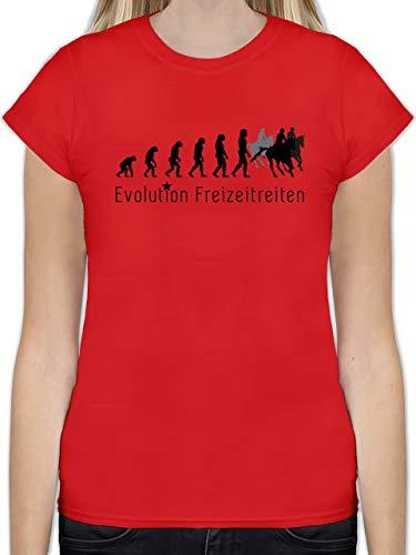 Evolution - Freizeitreiten Ausreiten Reiten Evolution - XL - Rot - L191 - Tailliertes Tshirt für Damen und Frauen T-Shirt