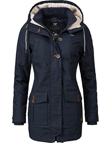 Ragwear Damen Mantel Wintermantel Winterparka YM-Jane (vegan hergestellt) Blau Gr. L