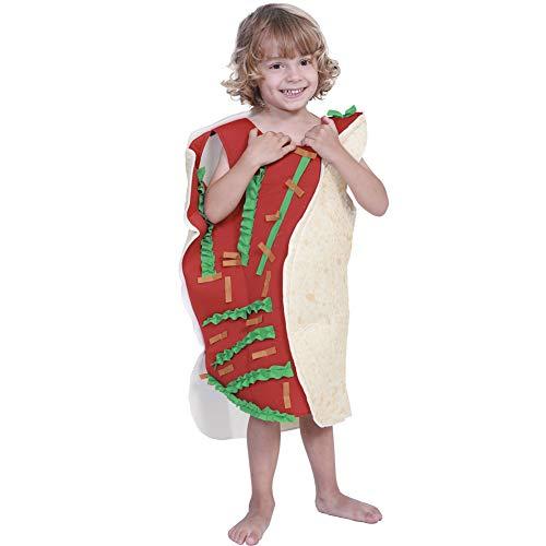 Kind Kostüm Taco - LOLANTA Unisex Kinder Mexican Taco Kostüm Halloween Fancy Cosplay Kostüm für Jungen Mädchen 8-11 Jahre (146/152 (10-11 Jahre))