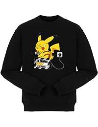 Pull Manga - Parodie Pikachu de l'Animé Pokémon - En charge... (Super Deformed) - Pull Noir - Haute Qualité (860)
