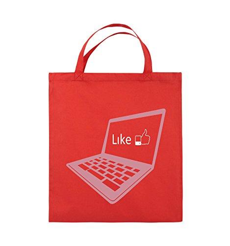 Comedy Bags - I like laptop - Jutebeutel - kurze Henkel - 38x42cm - Farbe: Schwarz / Weiss-Neongrün Rot / Rosa-Weiss