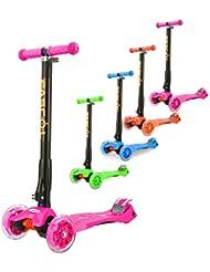 Fascol Kinderroller Scooter Klappbar Roller ab 3 -12 Jahre Leuchtende Räder Tretroller Cityroller mit Knieschützer und Ellenbogenschützer Belastbarkeit bis 60 kg
