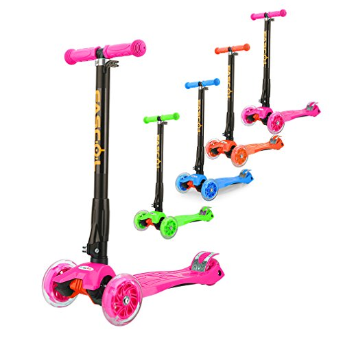 Fascol Kinderroller Scooter Klappbar Roller ab 3 -12 Jahre Leuchtende Räder Tretroller Cityroller mit Knieschützer und Ellenbogenschützer Belastbarkeit bis 60 kg, Rosa