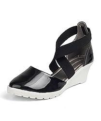Kittens Girls Black Synthetic Wedge Sandals (KTG250) - 3 UK