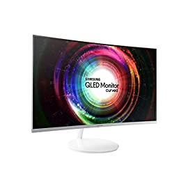 Samsung C27H711 Monitor Curvo 27'' Quantum Dot WQHD, 2K per Designer, Cornice Sottile, 2560 x 1440, 4 ms, FreeSync, Mini-DisplayPort, HDMI, Bianco