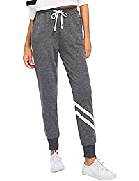 3c6fe2e6e2123c SOLY HUX Damen Sweatshose Streifen Sweatpants Elastischer Bund Hose Jogginghose  mit Taschen