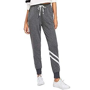 SOLY HUX Damen Sweatshose Streifen Sweatpants Elastischer Bund Hose Jogginghose mit Taschen, Kordelzug