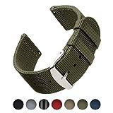 Archer Watch Straps | Bracelets de Remplacement en Nylon Facilement Interchangeables pour Montre Homme et Femme, aussi pour Montres Connectées | Vert Olive, 22mm