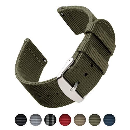 Archer Watch Straps | Bracelets de Remplacement en Nylon Facilement Interchangeables pour Montre Homme et Femme, Aussi pour Montres Connectées | Vert Olive, 20mm