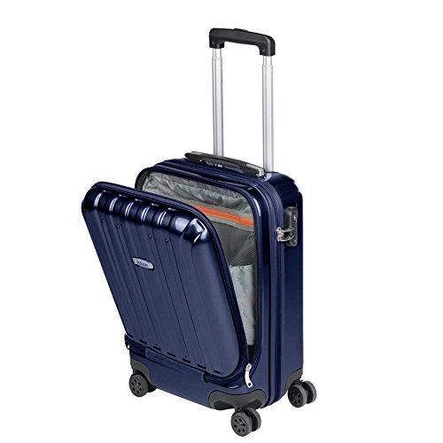 Valigia Bagaglio a Mano Tasca porta PC Trolley Cabina Bagaglio Rigido e Leggero 4 Ruote Doppie Giro 360º Lucchetto TSA Sulema (Blu marino)