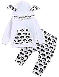 0-2 Años,SO-buts Niño Pequeño Bebé Niños Cartoon Pullover Hoodie T-shirt Tops Sudadera Pantalones Casual Chándal Conjuntos De Trajes