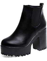 OverDose Femme Bottines Hiver Bottines Chelsea Hautes Bottines a Talon  Chaussures Boots a56fca5598ca