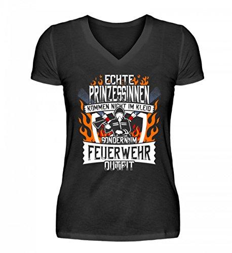 Hochwertiges V-Neck Damenshirt - Echte Prinzessinnen Kommen IM Feuerwehr-Outfit - Freiwillige Feuerwehr Feuerwehrfrau Feuerwehrleute FFW 112 Feuerwehruniform Geschenk