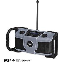 UEME Baustellenradio DAB+/DAB/FM Radio, Digitalradio mit Bluetooth und Wecker und Dimmer, Robustes DAB Plus Radios DB-322 (Grau-Schwarz)