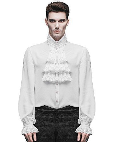 (Devil Fashion Herren Shirt Top weiß Gothic Steampunk Viktorianisch Regentschaft Aristocrat - Weiß, XXXX-Large)