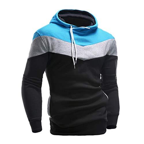 IMJONO Männer Retro Langarm-Kapuzenpullover mit Kapuze Sweatshirt Tops Jacke Mantel Outwear (EU-50/CN-2XL,Schwarz)