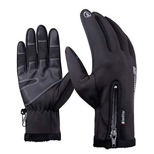 Chongshang Sporthandschuhe wasserdicht Touchscreen Winter windfest Reiten voller Finger Reißverschluss warme Handschuhe Berg Ski Tauchen Tuch Material Palmbreite 8cm-9cm