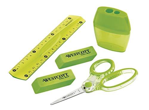 Westcott E-23000 - Set scuola, 5 pezzi, con forbici per bambini, righello a doppia temperatura, infrangibile da 15 cm e 2 gomme da cancellare, colore: Verde