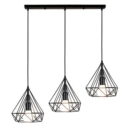 STOEX Lustre Suspension Industrielle de 3 lampes, Plafonnier en Métal Fer Abat-Jour forme diamant Luminaire pour Salon Salle à Manger Bar, E27 Noir