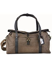 a4b17b4dc6 GOOTIUM 60406 Vintage Canvas Cuir Duffel Travel Tote Shoulder Weekend Bag  Sac de Voyage, 52